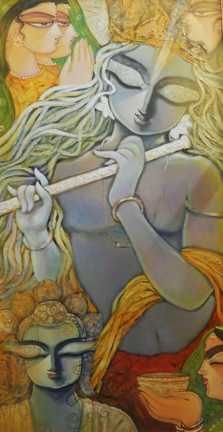 Offering   Painting by artist Subrata Ghosh   acrylic   Canvas
