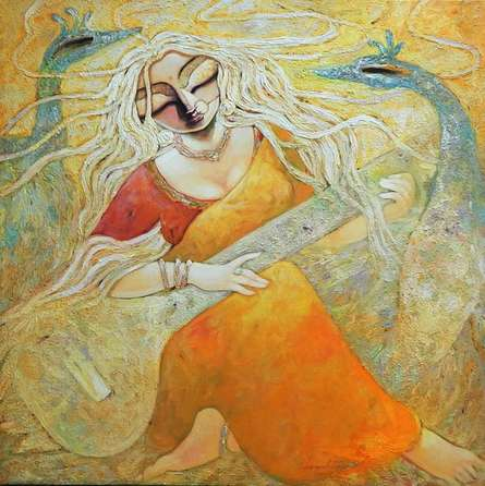 Figurative Acrylic Art Painting title 'Paraa' by artist Subrata Ghosh