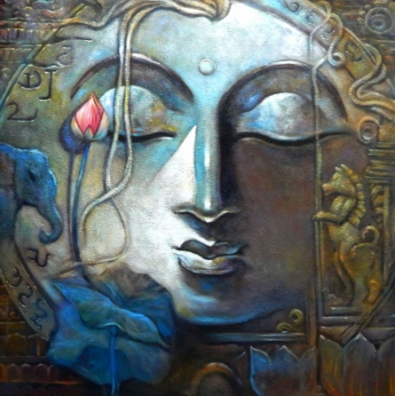 Religious Acrylic Art Painting title 'Peace 2' by artist Subrata Ghosh