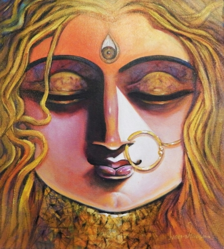 Figurative Acrylic Art Painting title Shakti 1 by artist Subrata Ghosh