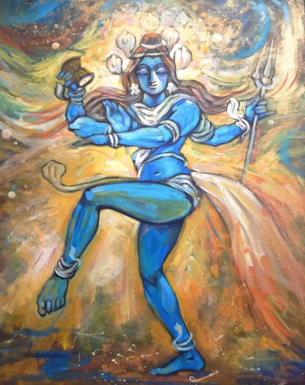 Religious Acrylic Art Painting title 'The Creator' by artist Subrata Ghosh