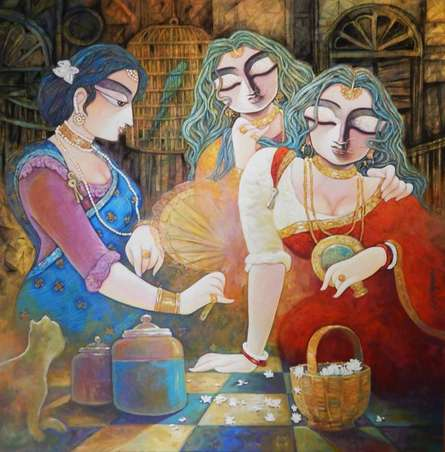 Figurative Acrylic Art Painting title 'Tin Kanya' by artist Subrata Ghosh