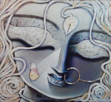 Figurative Acrylic Art Painting title 'Trinayani' by artist Subrata Ghosh
