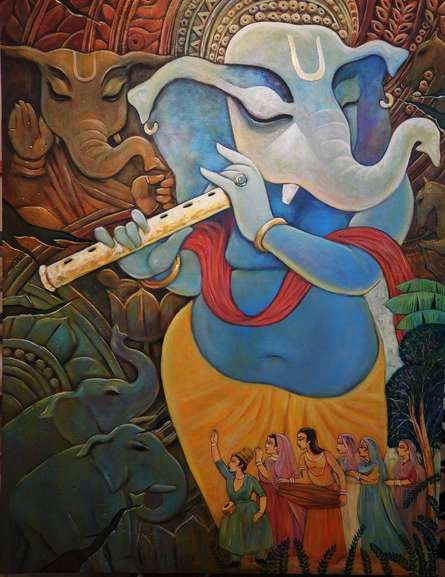 Figurative Acrylic Art Painting title Vinayaka by artist Subrata Ghosh