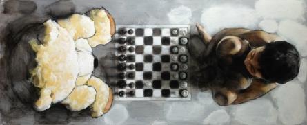 Figurative Acrylic Art Painting title Chess by artist Manoj Sakale