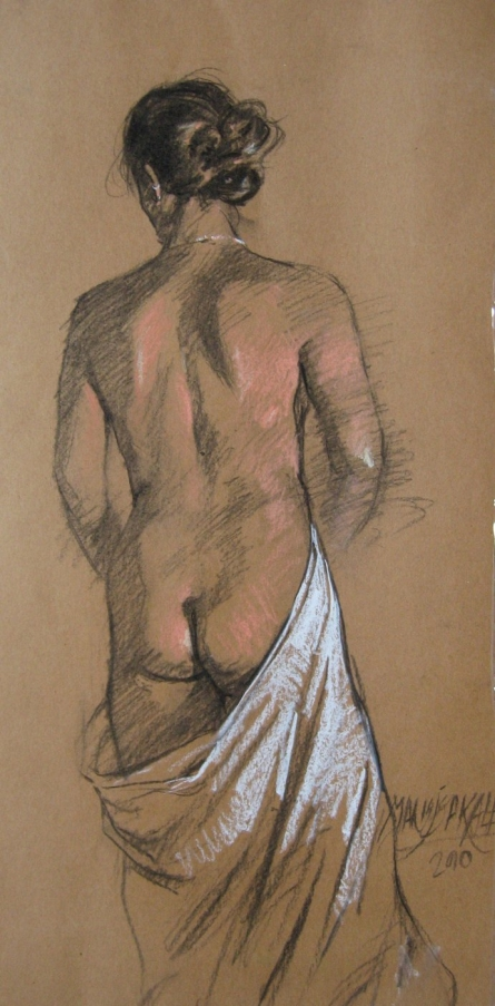 Nude 1 | Painting by artist Manoj Sakale | charcoal | Paper