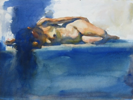 Nude Watercolor Art Painting title 'Nude 8' by artist Manoj Sakale