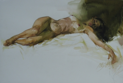 Nude Watercolor Art Painting title 'Nude 7' by artist Manoj Sakale