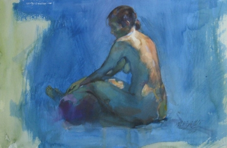 Nude Watercolor Art Painting title 'Nude 6' by artist Manoj Sakale
