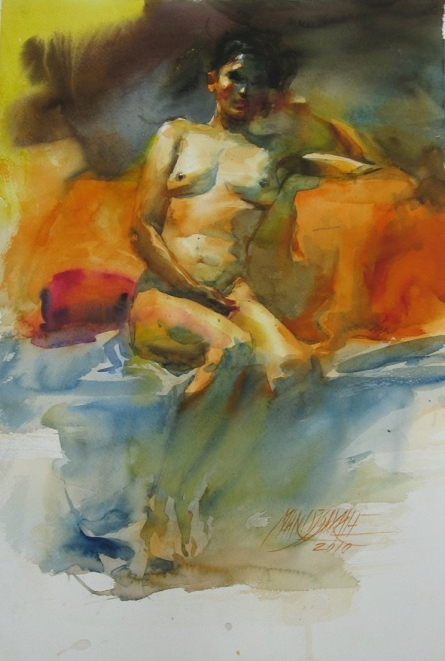Nude 5 | Painting by artist Manoj Sakale | watercolor | Paper