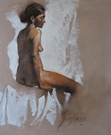 Nude 3 | Painting by artist Manoj Sakale | oil | Canvas