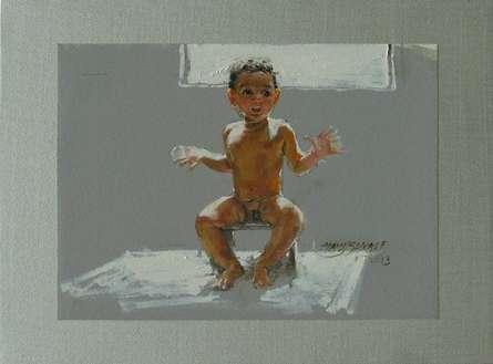 Sun Bath | Painting by artist Manoj Sakale | oil | Canvas
