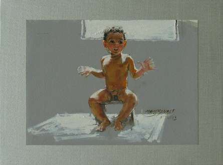Sun Bath | Painting by artist Manoj Sakale | oil | Canvas