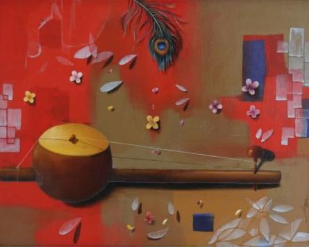 Figurative Acrylic-oil Art Painting title 'Ektara' by artist Nitin Marde