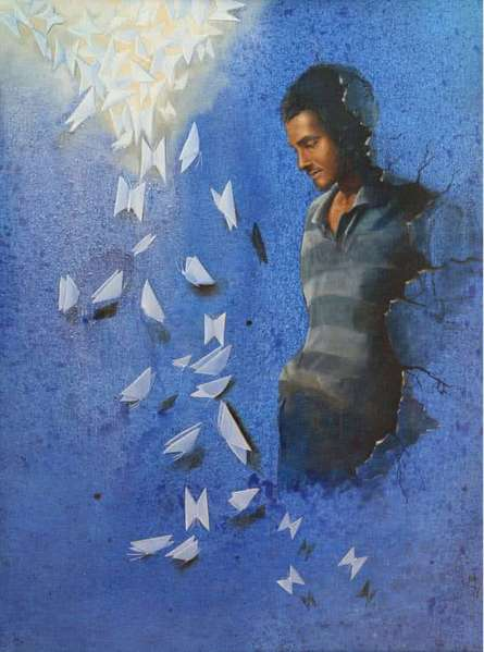 Figurative Acrylic-oil Art Painting title 'Towards Brightness' by artist Nitin Marde