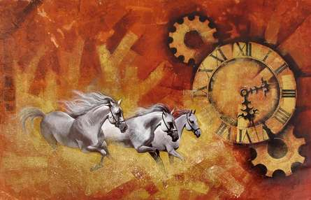 Mithu Biwas Paintings | Acrylic Painting - Chasing the time13 by artist Mithu Biwas | ArtZolo.com