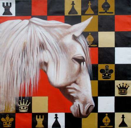 Pop Art Acrylic Art Painting title 'Horse In Chess03' by artist Mithu Biwas