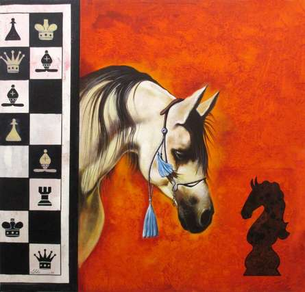 Horse In Chess05 | Painting by artist Mithu Biwas | acrylic | Canvas
