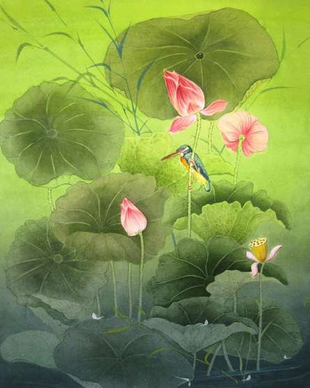 Figurative Watercolor Art Painting title 'Nature' by artist Rina Roy