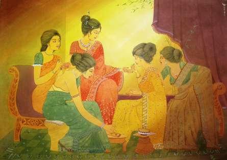 Mehendi | Painting by artist Rina Roy | watercolor | Paper