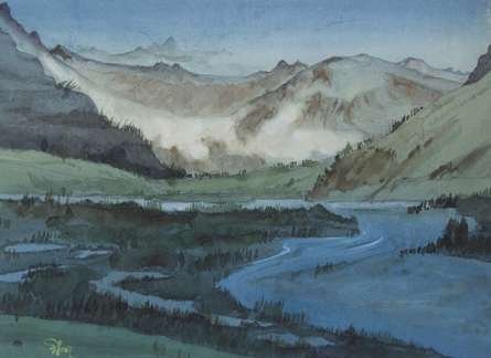 Mountain 1 | Painting by artist Rina Roy | watercolor | Paper