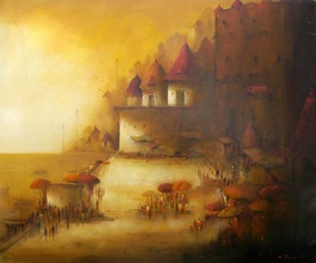 Landscape Acrylic Art Painting title 'Evening veiw of Banaras Ghat 1' by artist Parag Adhikari