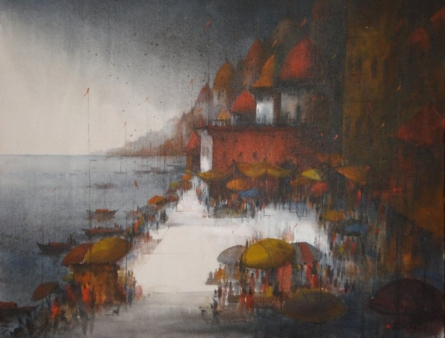 Banaras Ghat | Painting by artist Parag Adhikari | acrylic | canvas