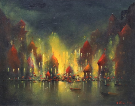 Landscape Acrylic Art Painting title 'Ganga Ghat' by artist Parag Adhikari
