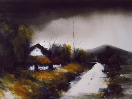 Landscape Acrylic Art Painting title 'Sweet Home' by artist Parag Adhikari