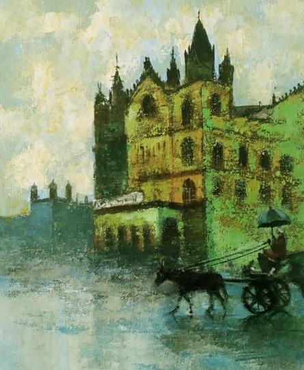 Cityscape Acrylic Art Painting title 'Mumbai Series 1' by artist Sandeep Ghule