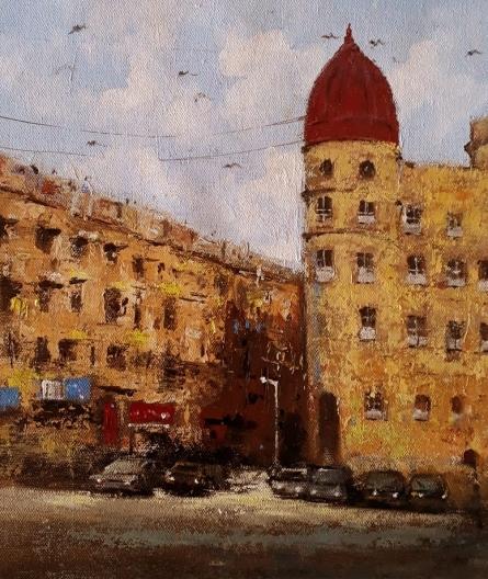 Cityscape Acrylic Art Painting title 'Mumbai Series 6' by artist Sandeep Ghule
