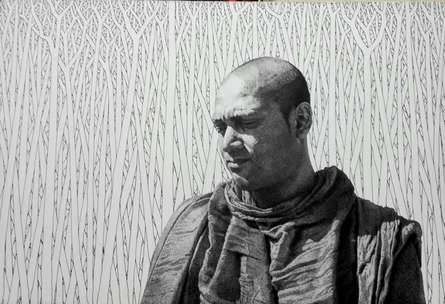 Ink Paintings | Drawing title Monk on Canvas | Artist Prakash Ghadge