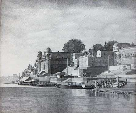 Ink Paintings | Drawing title Banaras Ghat on Canvas | Artist Prakash Ghadge