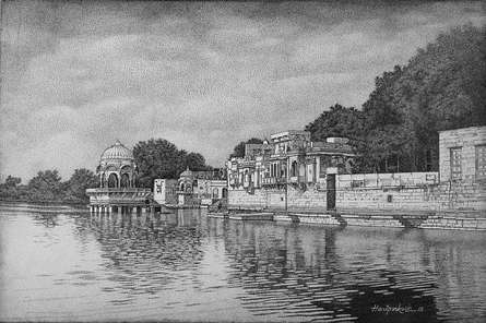 Ghadisar Lake | Drawing by artist Prakash  Ghadge |  | ink | Canvas