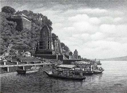 Maheshwari Ghat | Drawing by artist Prakash  Ghadge |  | ink | Paper