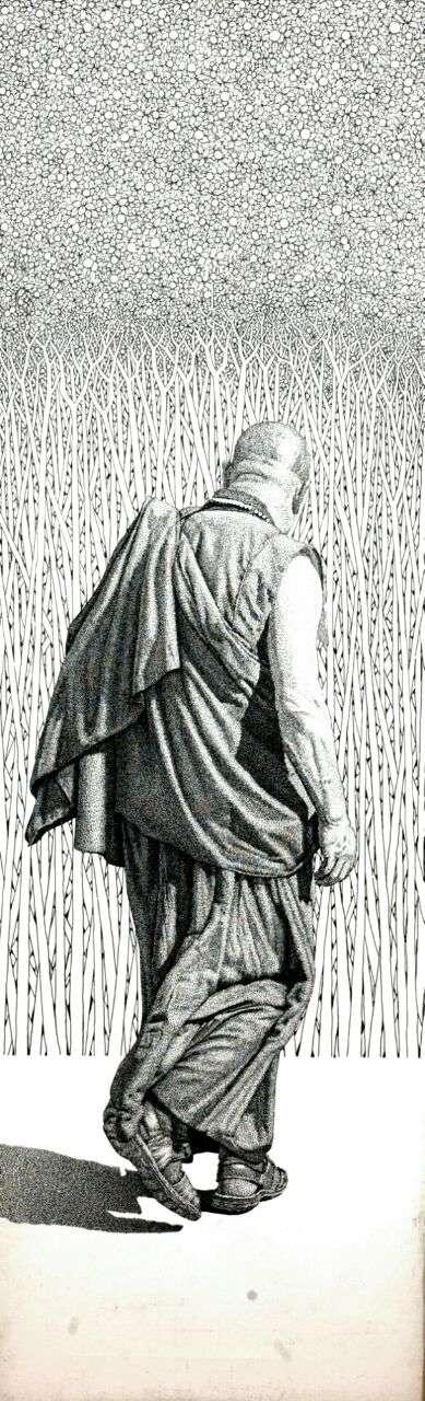 Figurative Pen-ink Art Drawing title 'Monk 16 I' by artist Prakash Ghadge