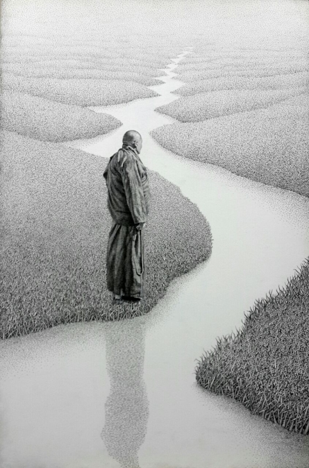 Figurative Pen-ink Art Drawing title 'Monk 17 I' by artist Prakash Ghadge