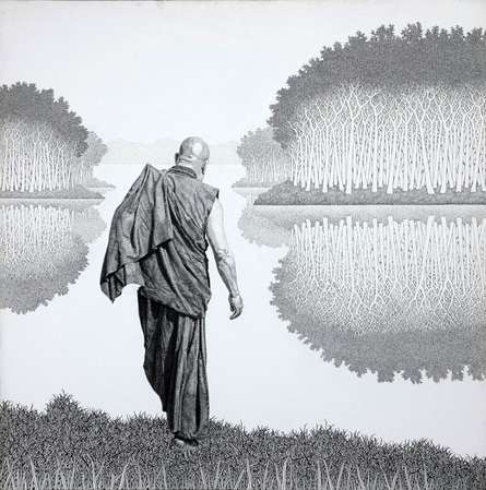 Figurative Pen-ink Art Drawing title 'Monk 17 Ii' by artist Prakash Ghadge