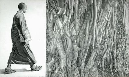 Figurative Pen-ink Art Drawing title 'Monk 17 Iii' by artist Prakash Ghadge