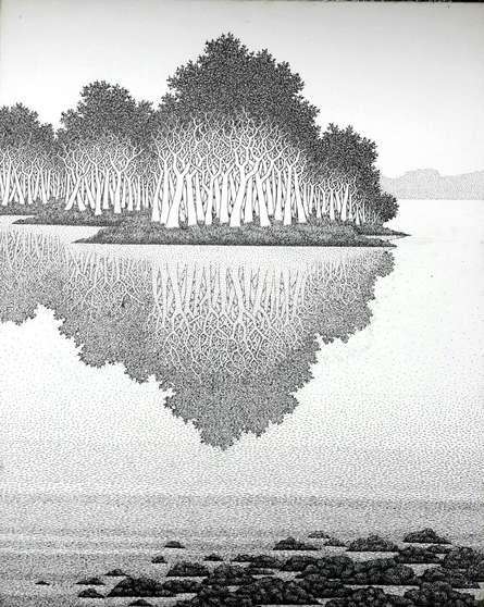 Reflection 17 I   Drawing by artist Prakash  Ghadge      Pen&Ink   Canvas