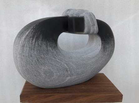 Black Marble Sculpture titled 'Relationship' by artist Nema Ram
