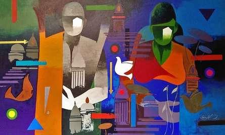 Figurative Acrylic Art Painting title Couple Banaras by artist Ranjit Singh