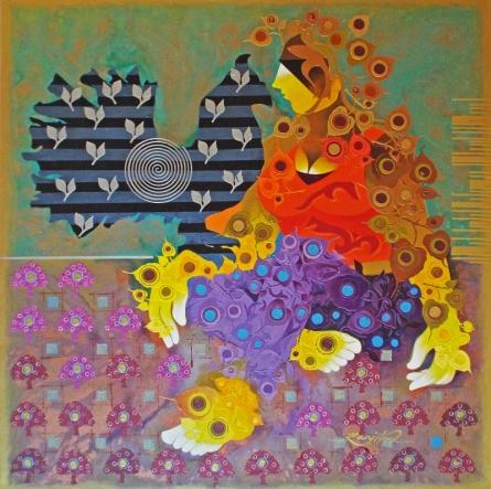 contemporary Acrylic Art Painting title 'Creation 37' by artist Ranjit Singh Kurmi