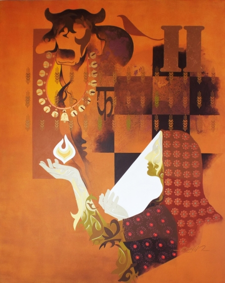 Figurative Acrylic Art Painting title 'Creation 4' by artist Ranjit Singh
