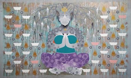 contemporary Acrylic Art Painting title 'Creation 45' by artist Ranjit Singh Kurmi