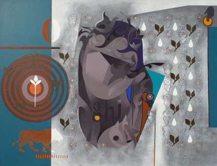 Crop Circle - 2 | Painting by artist Ranjit Singh | acrylic | Canvas