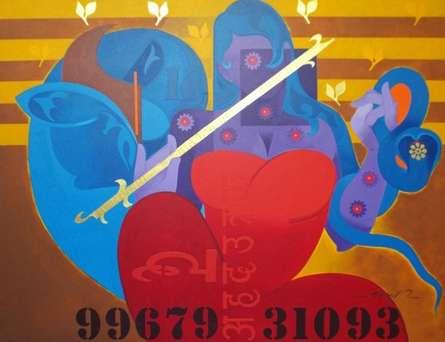 Ranjit Singh | Acrylic Painting title Fusion 1 0 on Canvas | Artist Ranjit Singh Gallery | ArtZolo.com
