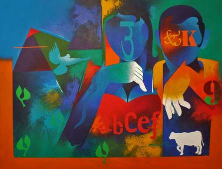 Happy Couple-2 | Painting by artist Ranjit Singh | acrylic | Canvas
