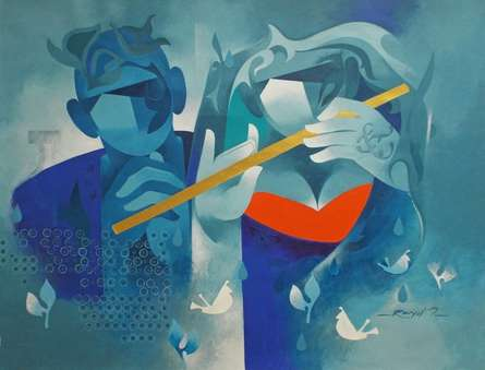 Joy Of Music - 10 | Painting by artist Ranjit Singh | acrylic | Canvas
