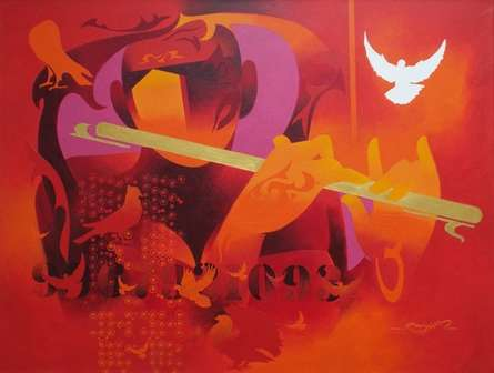 Figurative Acrylic Art Painting title 'Joy Of Music 14' by artist Ranjit Singh
